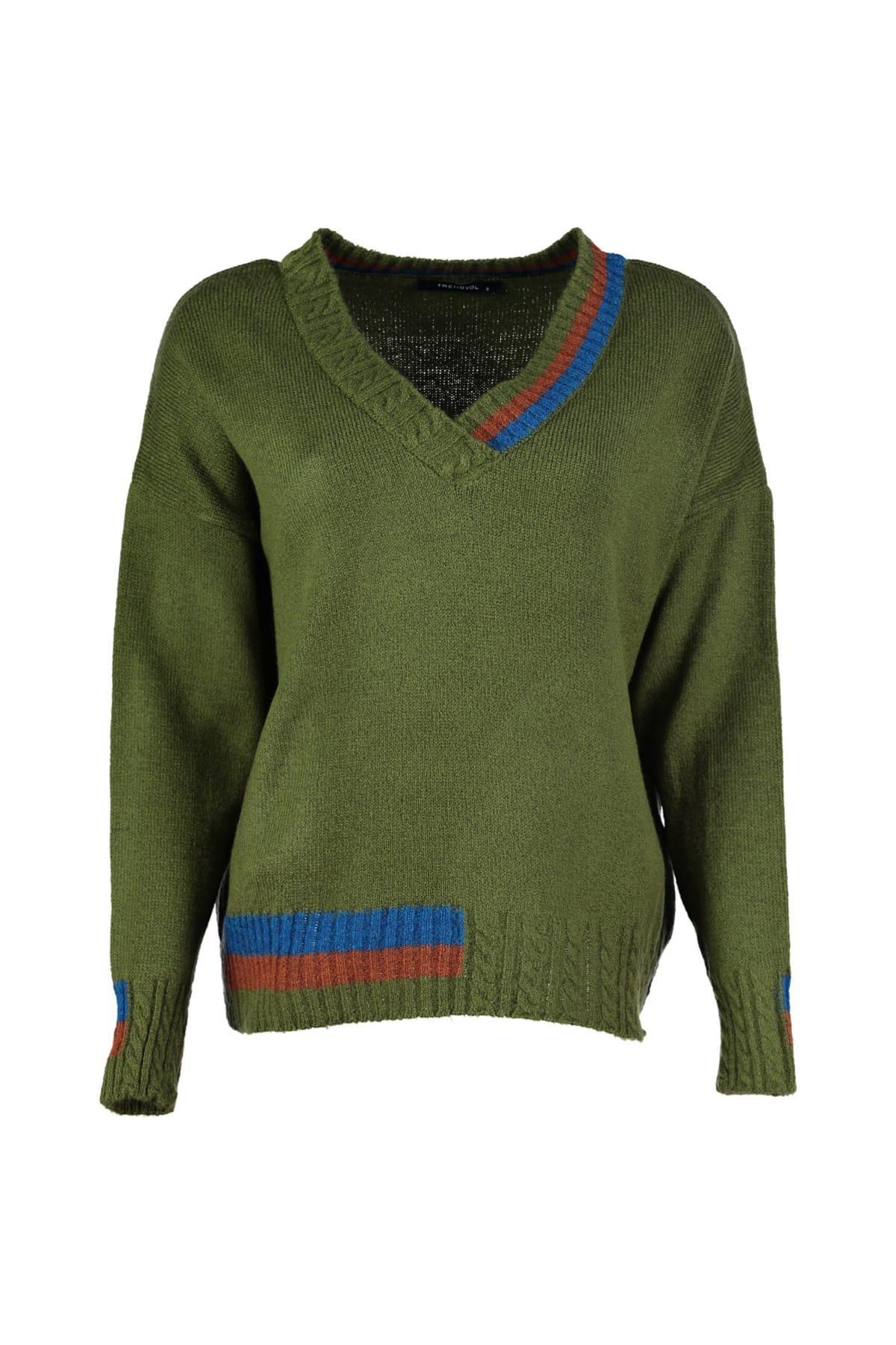 Trendyol WOMEN-Green V-Neck Knitwear Sweater TWOAW20ZA0059