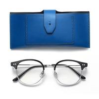 Gentle Brand Designer Women Men Retro Fashion Round Glasses Double Nose Bridge Metal Acetate Frame Eyewear with leather box