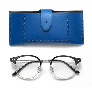 434eb34b56 Suave, diseñador de marca, los hombres de las mujeres de moda Retro gafas  redondas doble puente de la nariz de Metal Marco de acetato gafas con caja  de ...