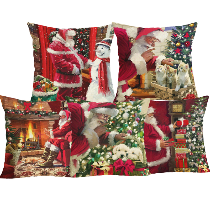 Comwarm Christmas Comfortable Travel Red Pillow Case Santa Claus Snowman Tree Cartoon Printing Animal Decorative Pillow Cover