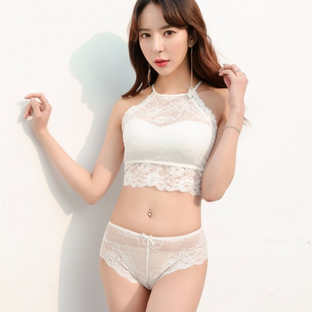 Full lace halter wire free comfortable bra set sexy lingerie beauty back pack small young girls underwear transparent panties