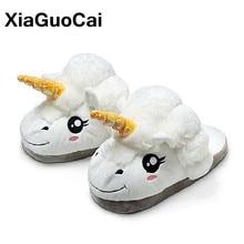 XiaGuoCai New Arrival Unicorn font b Slippers b font Winter Warm Plush Shoes Indoor font b