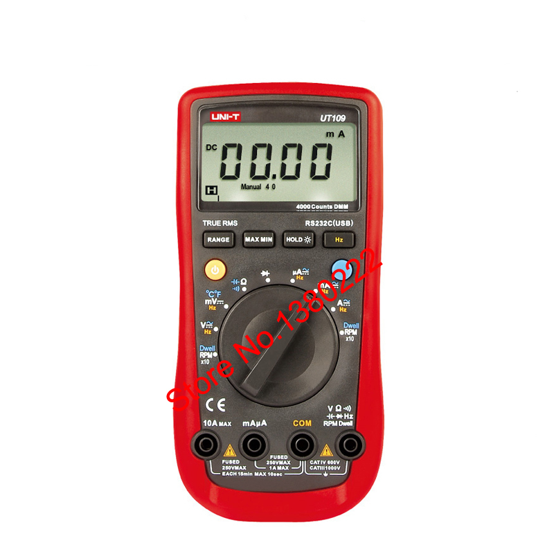 UNI-T UT109 Voltmeter Professional Auto 4000 Resistance Capacitance Frequency Rs232 Digital Multimeter ACDC voltmeter DC Ammeter ut70b modern digital multi purpose meters resistance capacitance frequency temperture dmm auto ranging multimeter with backlight