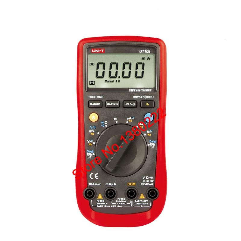 UNI-T UT109 Voltmeter Professional Auto 4000 Resistance Capacitance Frequency Rs232 Digital Multimeter ACDC voltmeter DC Ammeter vc99 auto range 3 6 7 digital multimeter 20a resistance capacitance meter voltmeter ammeter alligator probe thermal couple tk