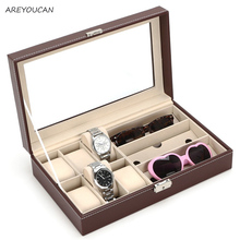 Leather 6 Watch Box Jewelry Case and 3 Piece Eyeglasses Storage and Sunglass Glasses Display Case Organizer
