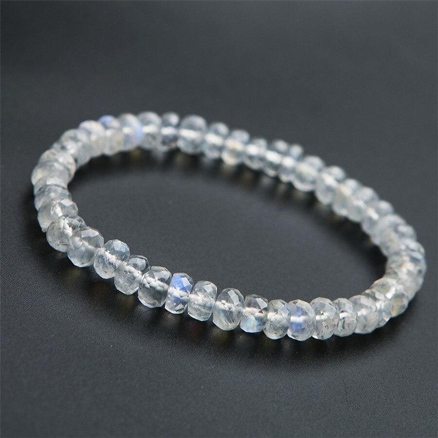 6mm véritable naturel bleu clair facetté pierre de lune Quartz cristal Transparent perles rondes bijoux charme extensible bracelets pour femme