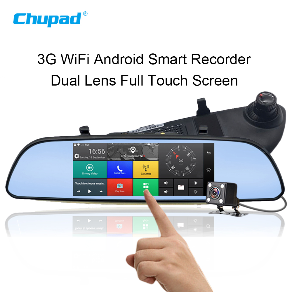 3G WiFi Android Car DVR Blackbox 1080P Bluetooth Dual Len Vehicle Camera 7 Inch GPS SIM Real View Dash Cam Driving Recorders