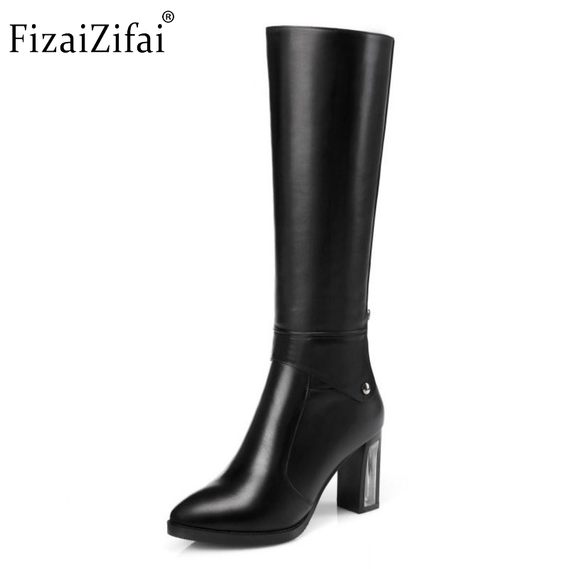 Size 31-45 Women Real Genuine Leather Knee Boots Ladies Pointed Toe Square High Heel Botas Zipper Heeled Footwear ShoesSize 31-45 Women Real Genuine Leather Knee Boots Ladies Pointed Toe Square High Heel Botas Zipper Heeled Footwear Shoes