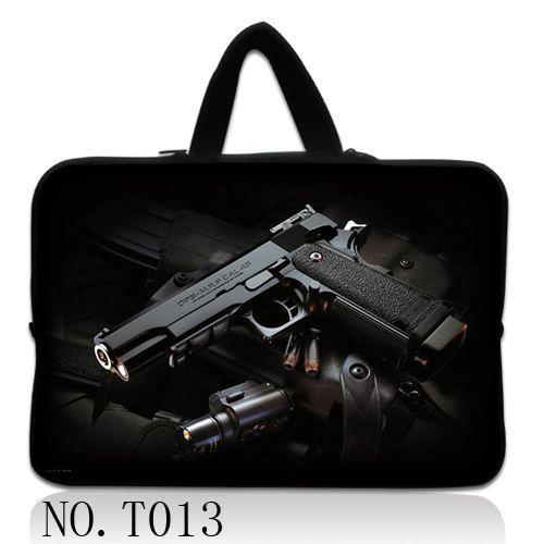 Black Mans Gun Soft Netbook Laptop Sleeve Case Bag Pouch Cover For 13 13.3 Macbook Pro / Air
