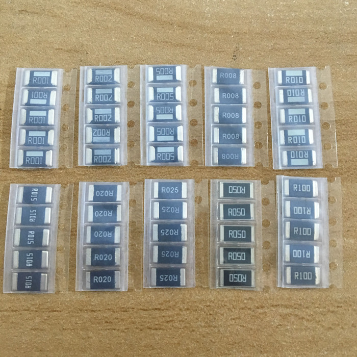 50PCS Alloy Resistance 2512 SMD Resistor Samples Kit ,10 KindsX5pcs=50pcs R001 R002 R005 R008 R010 R015 R020 R025 R050 R100
