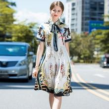 Augstas kvalitātes sieviešu kleitas vasaras skrejceļa modes pagrieziena uz leju apkakles īsa piedurkne drukāšana Vintage vidus teļš vasaras kleita elegants
