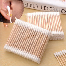 5 Packs Women Beauty Makeup 100% Cotton Swab Cotton Buds Make Up Double-head Wood Sticks Ears Cleaning Cosmetics Health Care