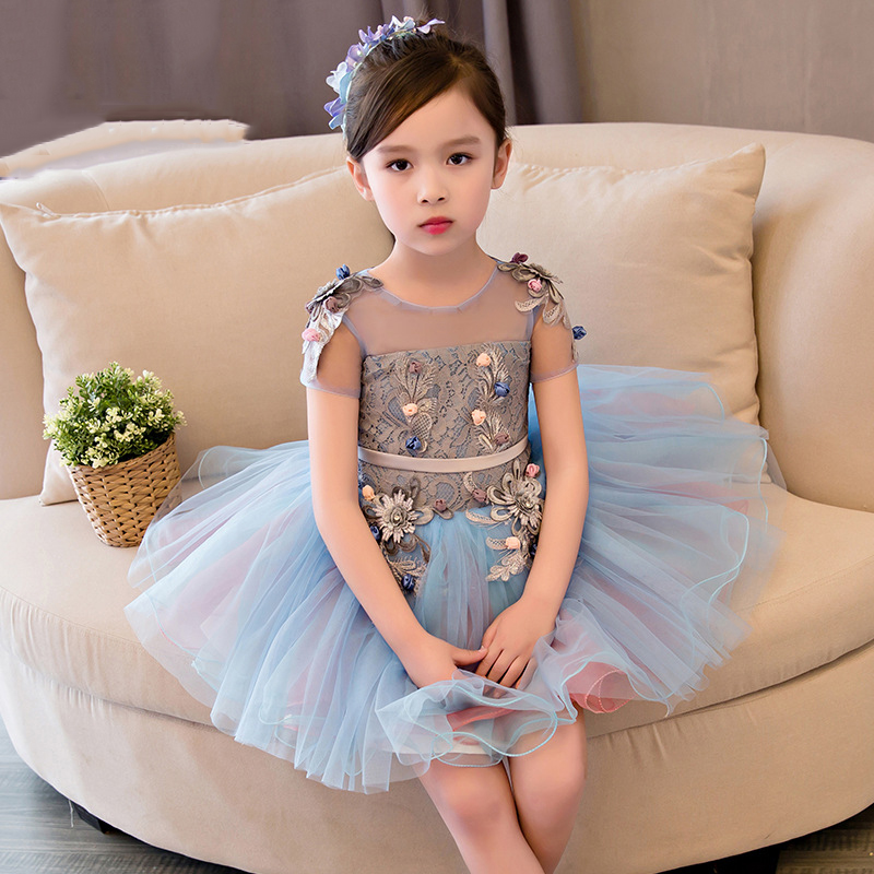 Appliques Flower Girl Dresses Lace Princess Dress Ball Gown Kids Pageant Dress for Birthday Costume Short Sleeve Party Gowns K32
