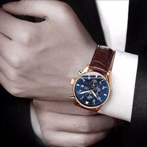 Image 5 - קרנבל למעלה מותג יוקרה Mens שעונים ספיר אופנה מכאני שעון יד משולב 6 ידיים ירח שלב עמיד למים reloj