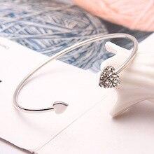 Heart Bracelet Open Gold Silver Color Double Peach Bangle Jewelry