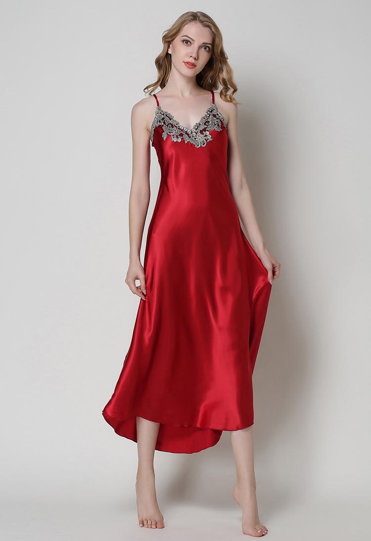 3858a2c533 SusanDick New Womens Long Silk Nightdress Floral Backless Lace Satin  Sleepwear Nighties Female Summer Sexy Silk Dress Nightwear