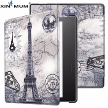 XIN-MUM Printed Ultra Slim Cover For Kindle Oasis 2017 7 Inch Case PU Leather Magnetic Case for Amazon Kindle Oasis 7'' + Gift