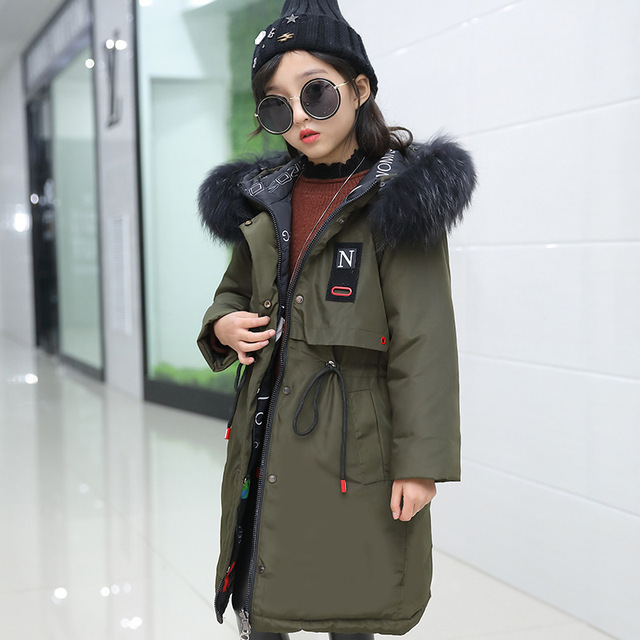 1100a7169a24 Lagabogy 2018 Girls Winter Coats and Jackets Children Parka Natural ...