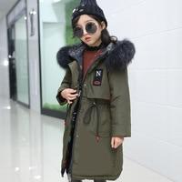 Lagabogy 2018 Girls Winter Coats and Jackets Children Parka Natural Big Fur Hooded Down Jacket For Girls Teen 5 16 Y TZ290