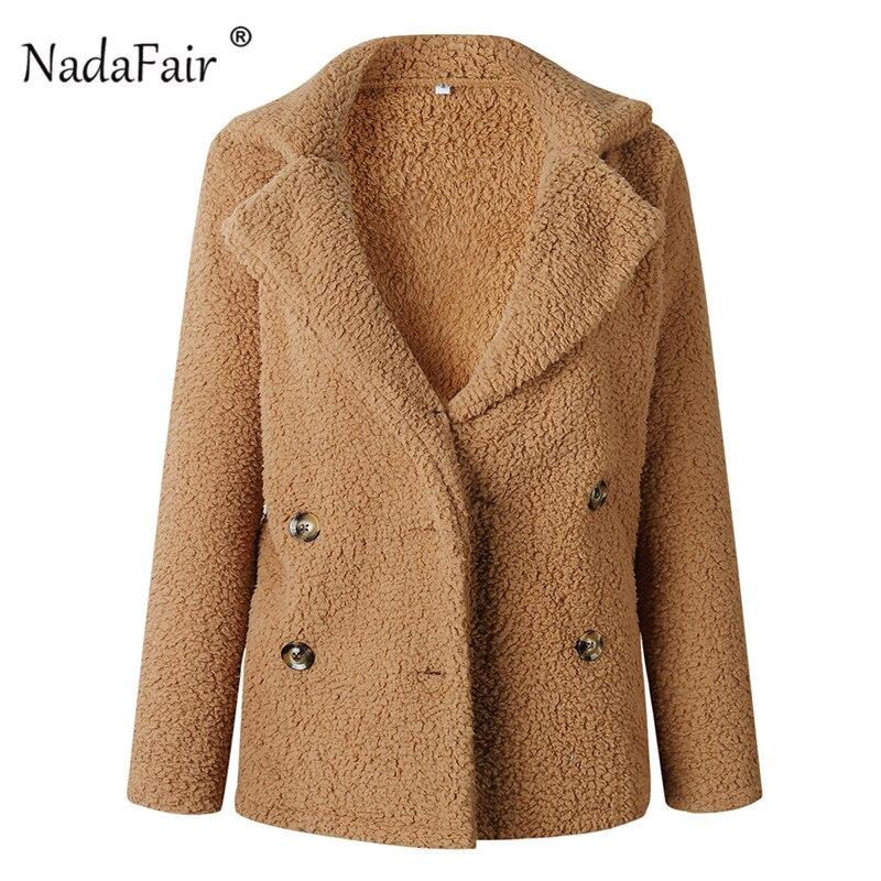 Nadafair plus size fleece faux fur jacket coat women winter pockets thicken teddy coat female plush overcoat casual outerwear 19