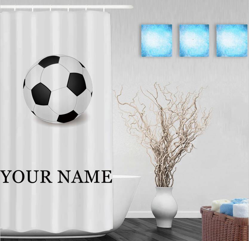 Personalize Soccer Shower Curtain Customize Your Text Sport Bathroom Curtains Polyester Fabric With Hooks In From Home Garden On