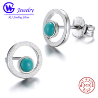 GW Fashion Jewelry New 925 Sterling Silver Trendy Earrings With Green Stone European Brand Stamped Factory