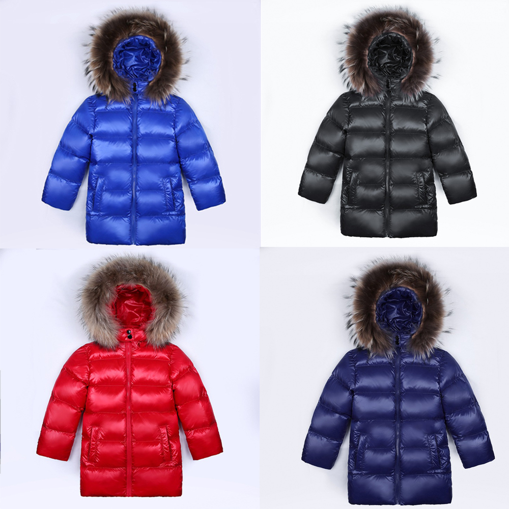 Russian Winter Warm Baby Boys Girls Snowsuit Children Duck Down Coats Jacket With Fur Hooded Thick Kids Ski Outerwear Parkas