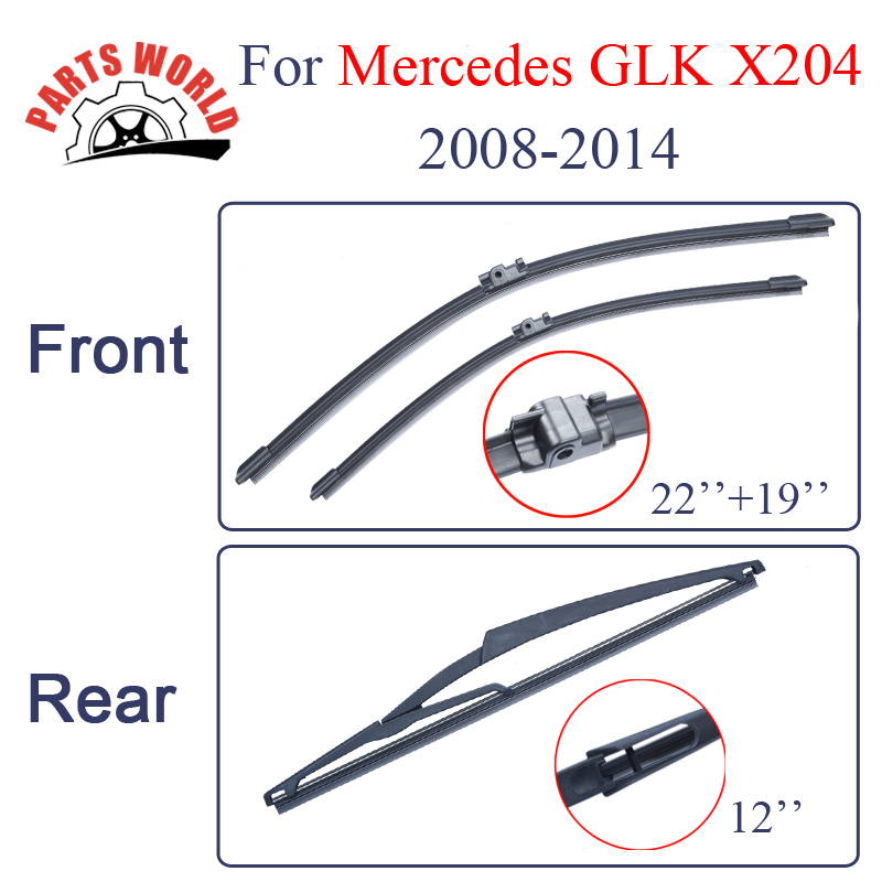 "Front and Rear Wiper blades for Mercedes Benz GLK Class X204 2008-2014 22""+19"" fit push button type wiper arms Natural Rubber"