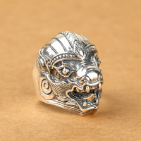 S925 wholesale silver jewelry fashion retro Silver Ring Mens Silver Ring personality kylin