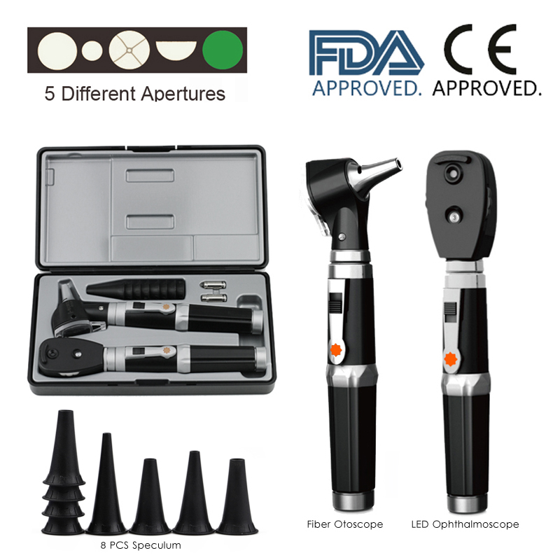 Professional Deluxe Diagnostic Medical Ear Eye Care Endoscope LED Fiber Otoscope and Ophthalmoscope Kit with Extra