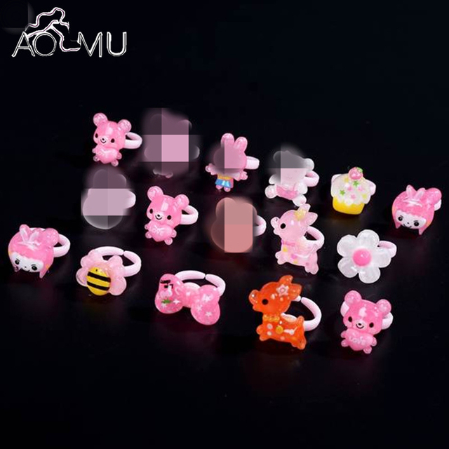 AOMU 5pcs/lot Lovely Cartoon Mixed Style Animals Children Resin Plastic Rings Fo
