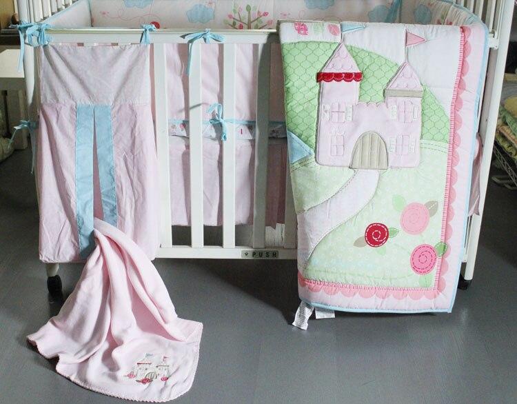 Mother & Kids Baby Bedding New 9 Pcs Baby Crib Bedding Set Flower Castle Baby Bedding Set Cartoon Quilt Crib Bumper Sheet Skirt Literie Pour Berceau