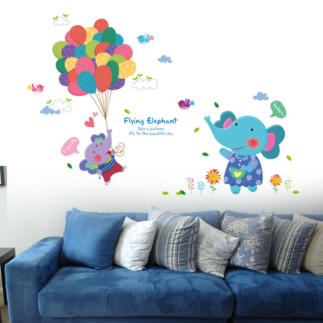 elefantes felices pegatinas de pared nios casa dormitorio nursery playroom decoracin del partido ballons animales de