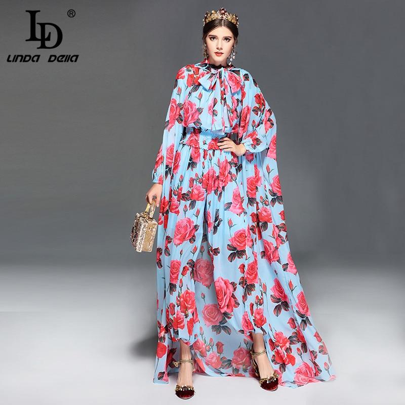 LD LINDA DELLA Fashion Runway Designer   Jumpsuit   Women's Long Sleeve Casual Rose Floral Print Loose Elegant   Jumpsuit   +Cloak