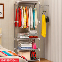 Assembly Floor Shelf Coat Rack Clothes Hanger Floor Standing Metal Non woven Fabric Clothes Hanging Storage Shelves