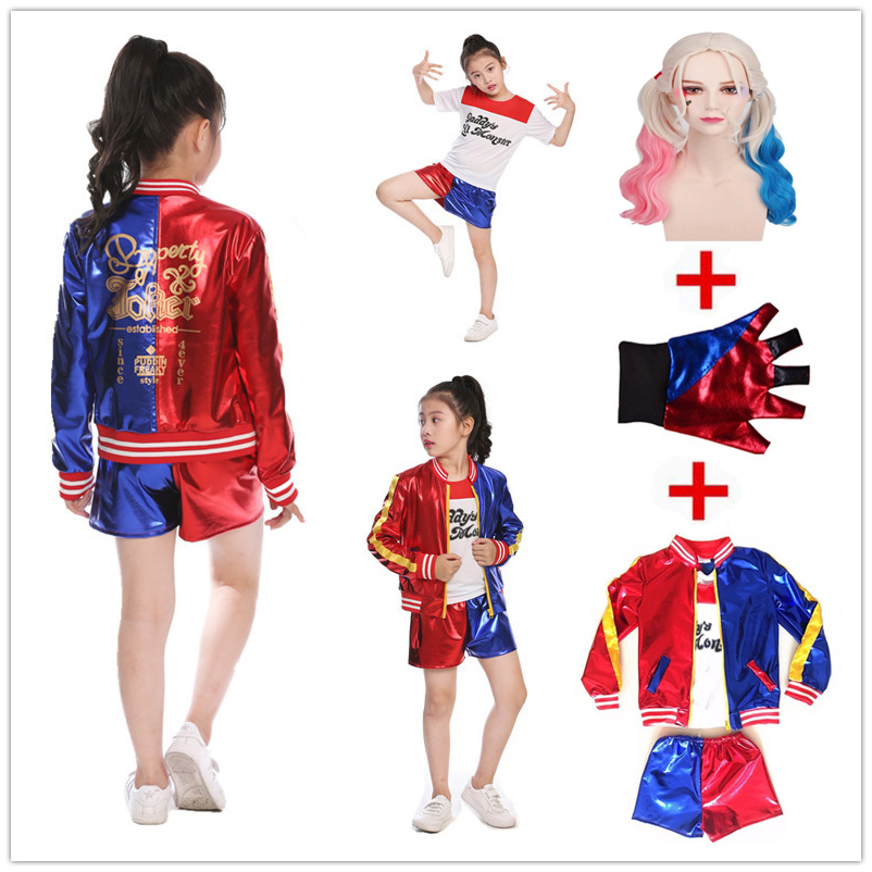 Girls Kids Movie Suicide Squad Harley Quinn Costume Cosplay JOKER Suicide Squad Halloween Purim T Shirt Top Jacket Pants sets