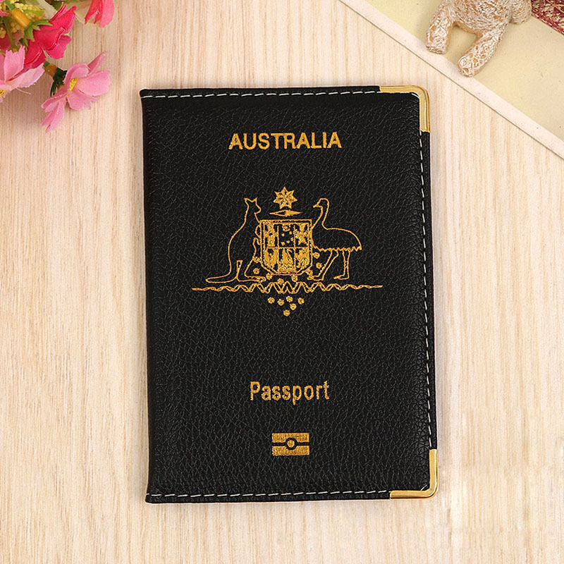 OKOKC Australia Passport Cover Litchi Pattern PU Leather Passport Holder Waterproof Passport Package Travel Accessories