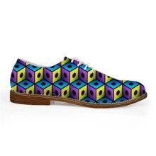 Noisydesigns Män Casual Business Dress Färgglatt Rutigt Tub Skriv ut Sko Pojkar Loafers Fritid PU Läder Snör åt Oxfords skor