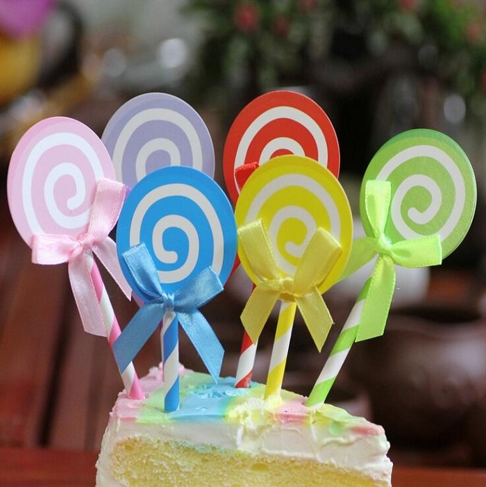 cake toppers lollipop paper cards banner for Cupcake Wrapper Baking Cup birthday tea party decor Craft baby shower DIY