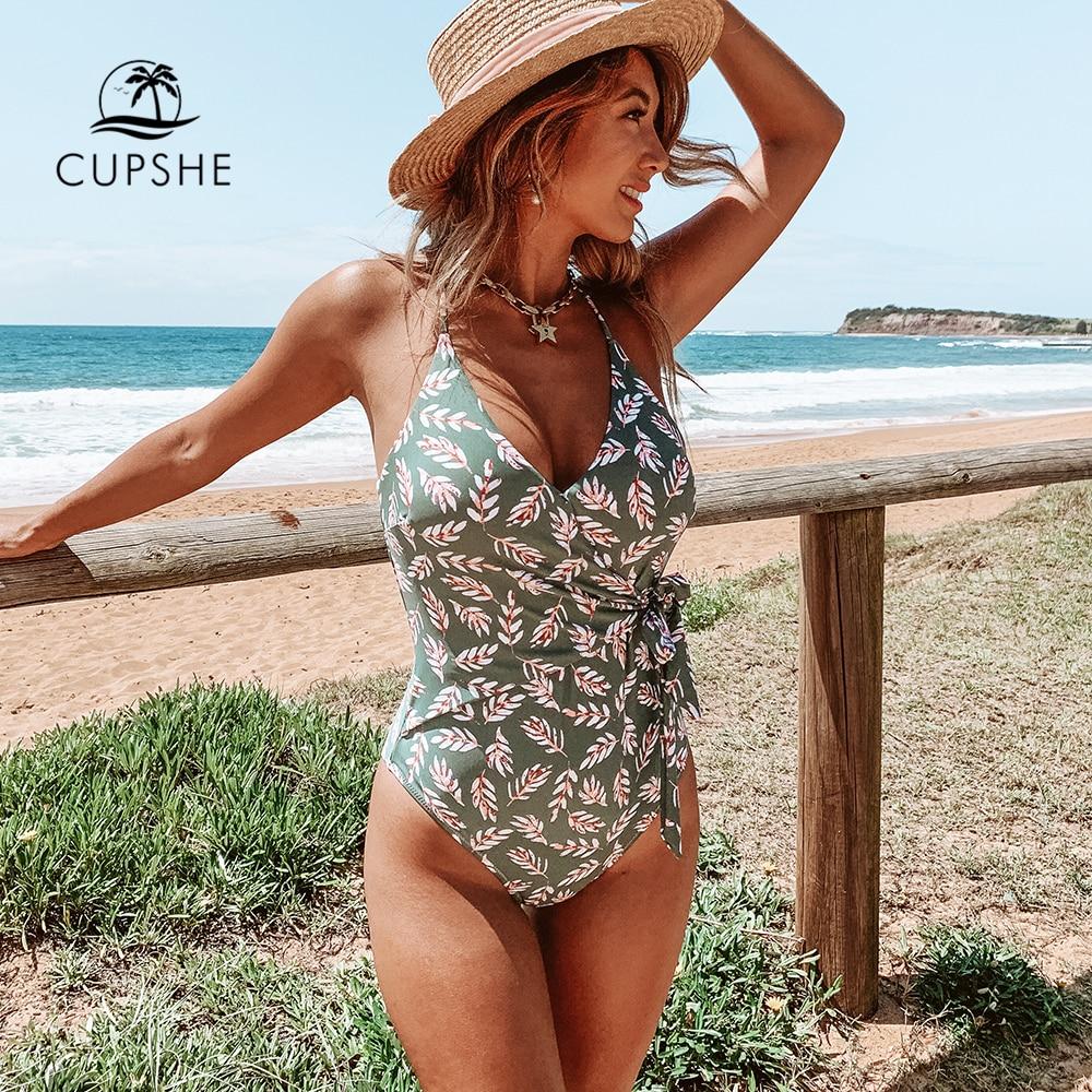 CUPSHE Pink And Green Leaf Print Wrap One-Piece Swimsuit Women Sexy Monokini Swimwear 2019 Girl Beach Bathing Suits
