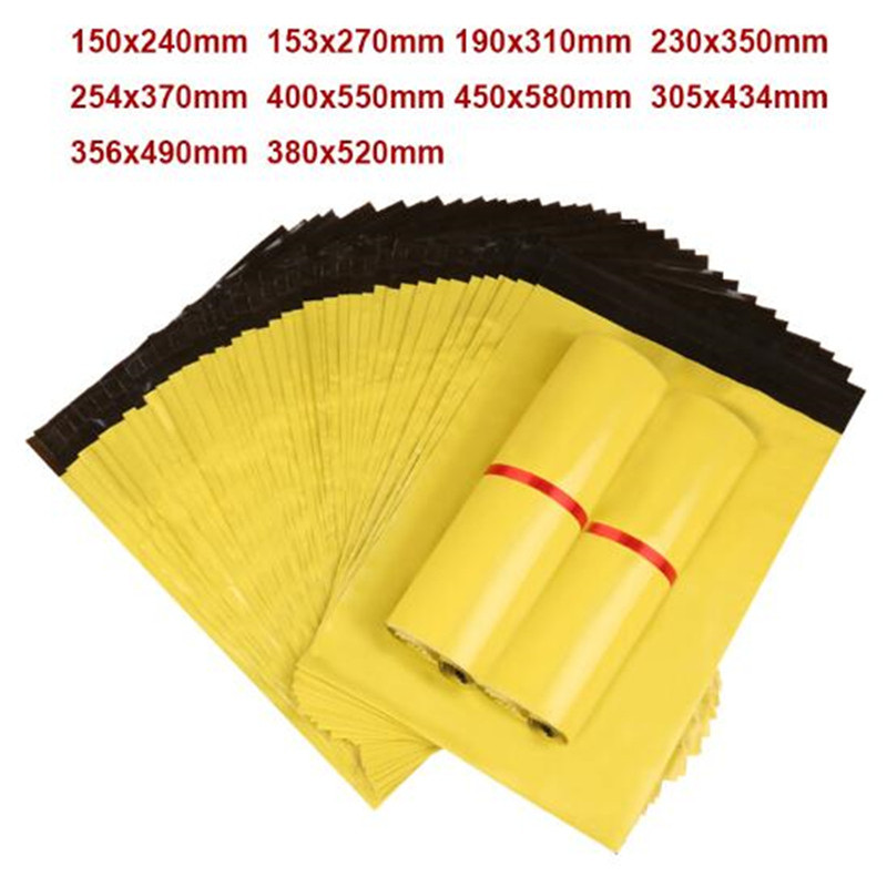 Storage bolsa Free Shipping Self Sealing Plastic Poly mailer Shipping Envelope Mailing Bags Yellow Color Plastic
