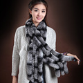 Ladies Real Fur Scarfs Novelty Winter Warm Rabbit Fur Striped Shawl Four Rows Fur Scarf For Women Men WJ003