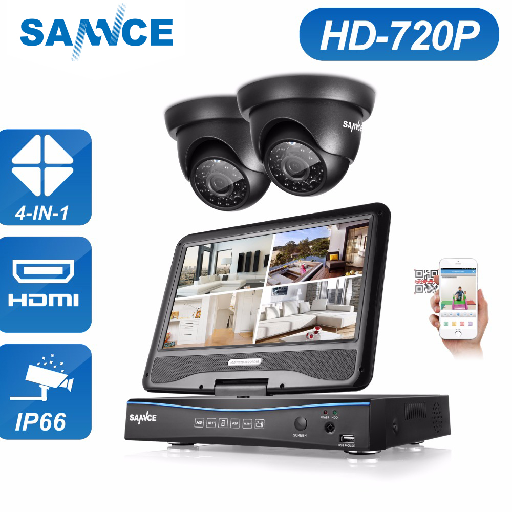SANNCE 4 Channel 720P DVR CCTV Camera System 2PCS 1200TVL 720P IR Outdoor Security Camera System Surveillance Kit 1TB HDD sannce 4 channel 720p dvr cctv camera system 2pcs 1200tvl 720p ir outdoor security camera system surveillance kit 1tb hdd