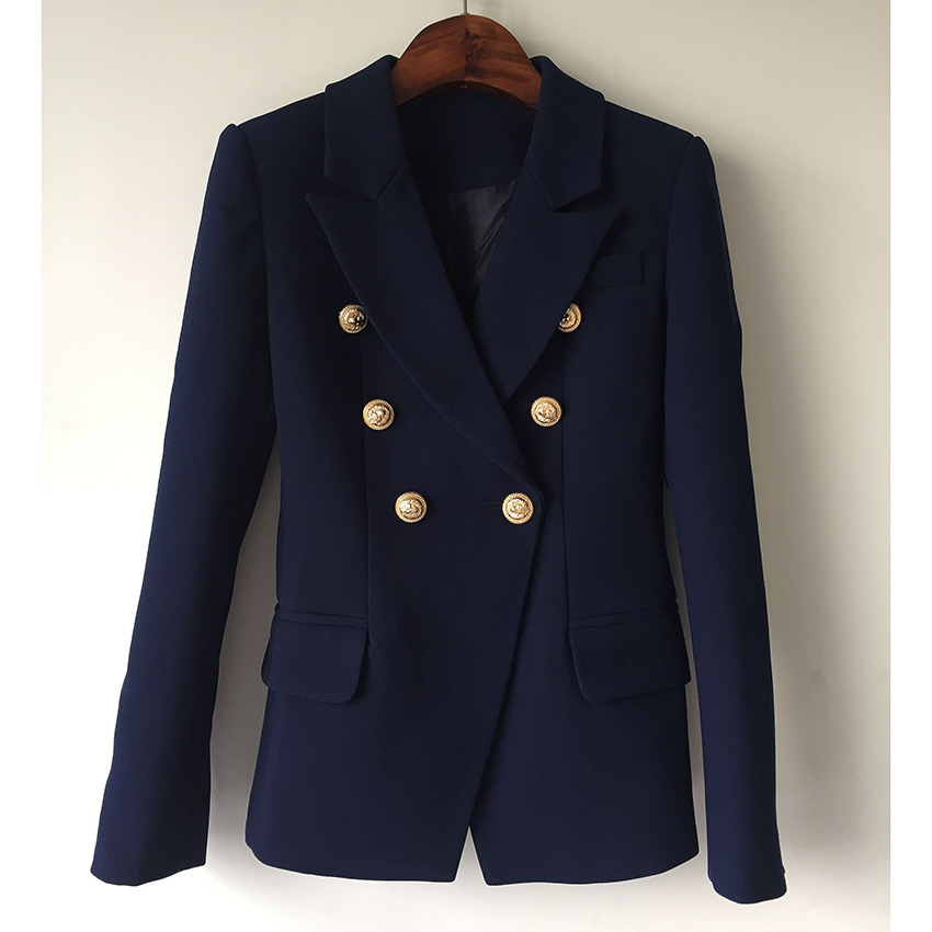 High Quality Gold Button Jacket Women Double Breasted Dark Full Sleeve Nothched Blazer Mujer Women Coat Dark Blue S-3XL 1729