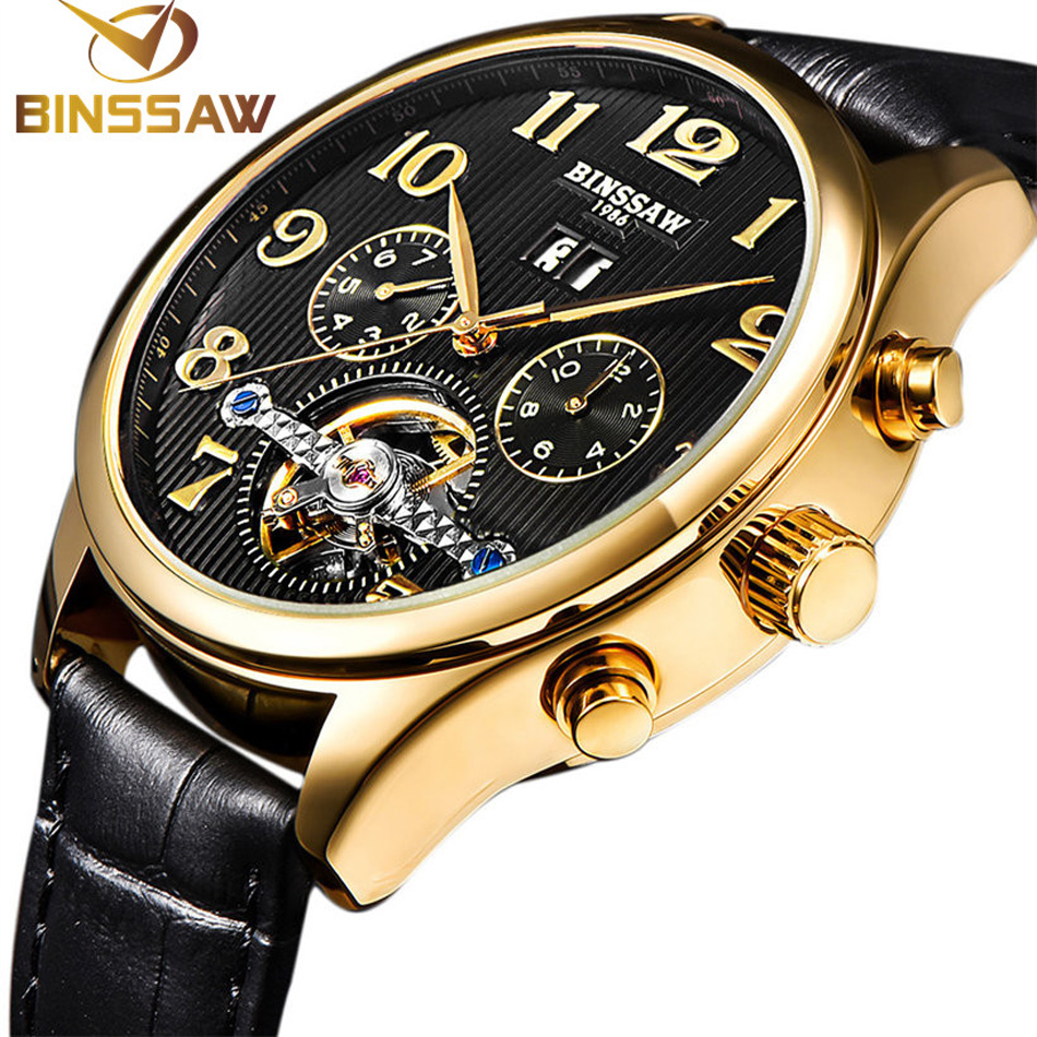 BINSSAW Brand Men Gold Watches Natural Cow Leather Band Steel - Men's Watches