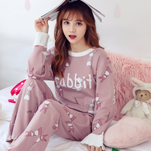 Tony&Candice  Cotton Printing Lapel Top + Long Pant 2 Piece Sets Pajamas Set For Women Cute Sleepwear Girls Pyjama Outerwear