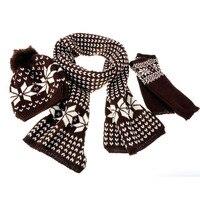 3Pcs Winter Warm Women Knitting Woolen Set Beanie Ski Hat Scarf Gloves Wraps