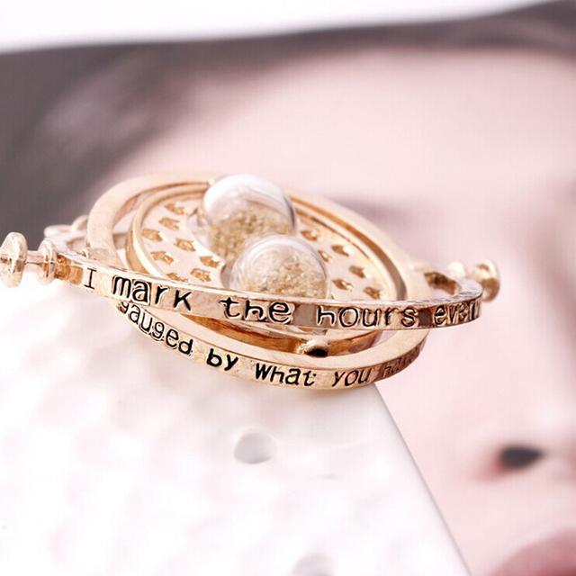 Harry Potter Hermione Granger 5 Color Sand Gold Color Time Turner Necklace Hourglass Pendant