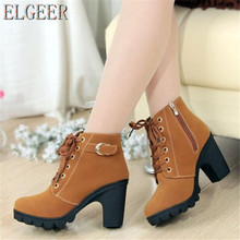 ELGEER New high-heeled womens boots cross straps short thick with round casual shoes Fashion sneakers high heels
