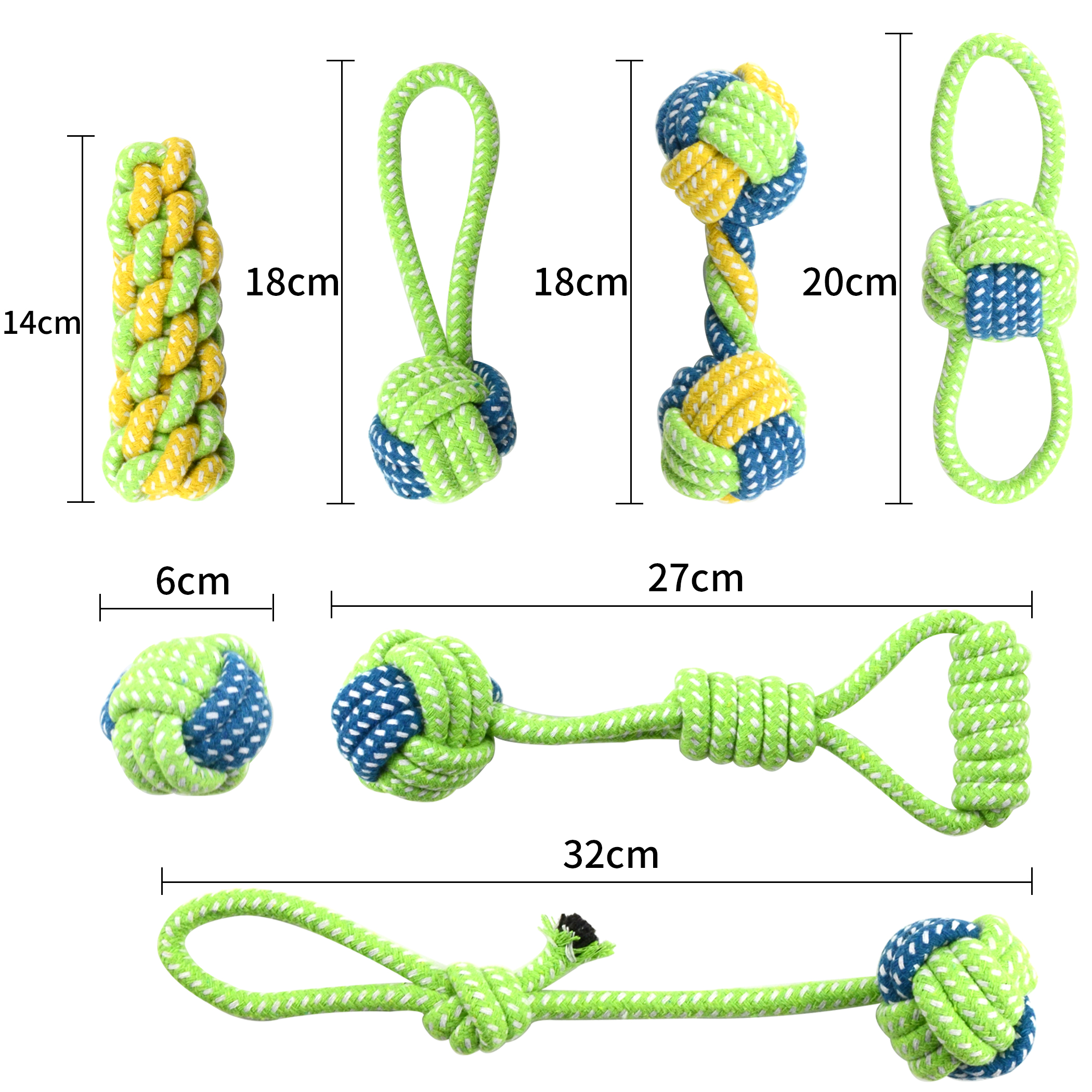 Pet Dog Cotton Rope Toy Dog 7 Pcs Chew Toys Honden Speelgoed Interactive Dogs Toys Tooth Cleaning Dog Love Throwing Bite Toys 1